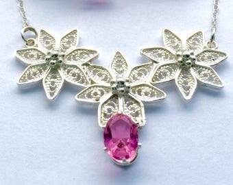 Pink Topaz Sterling Silver Necklace