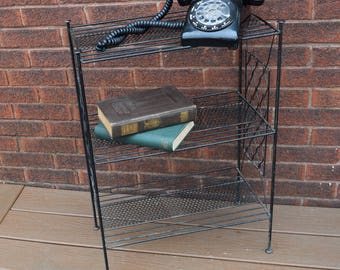 Mid Century Wire Shelf, book shelf, Side Table