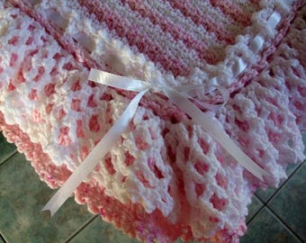 SALE! Hand crochet stripe baby blanket afghan - crocheted lacy ruffle edging - stripes - made to order in your colours - pram cover