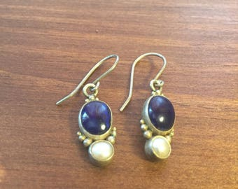 Lapis and Silver Drop Earrings