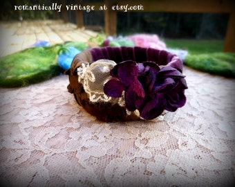 Flowers, Bracelet, Purple,Handmade, Lace,  Shabby Chic, Bangle, Gift, Country, Accessories, Rustic,  Wedding, Vintage Inspired, Victorian