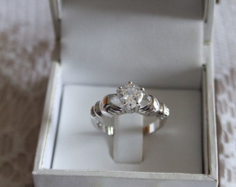 white Stone Claddagh Ring