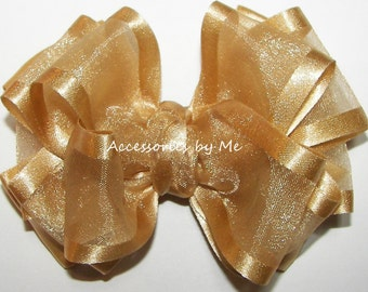 Girls Gold Hair Bow, Golden Pale Ale Hairbow, Gold Organza Satin Ribbon Clip, Gold Barrette, Gold Flower Girl Bow, Silver Pageant Hair Bows