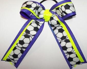 Bulk Soccer Bow, Purple Yellow Ribbon Bow, Neon Yellow Sparkly Purple Soccer Bows, Soccer Ponytail Hair Bows, Soccer Team Spirit Cheap Bows