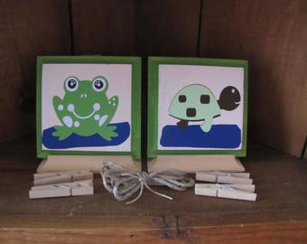child's Frog and turtle art work display