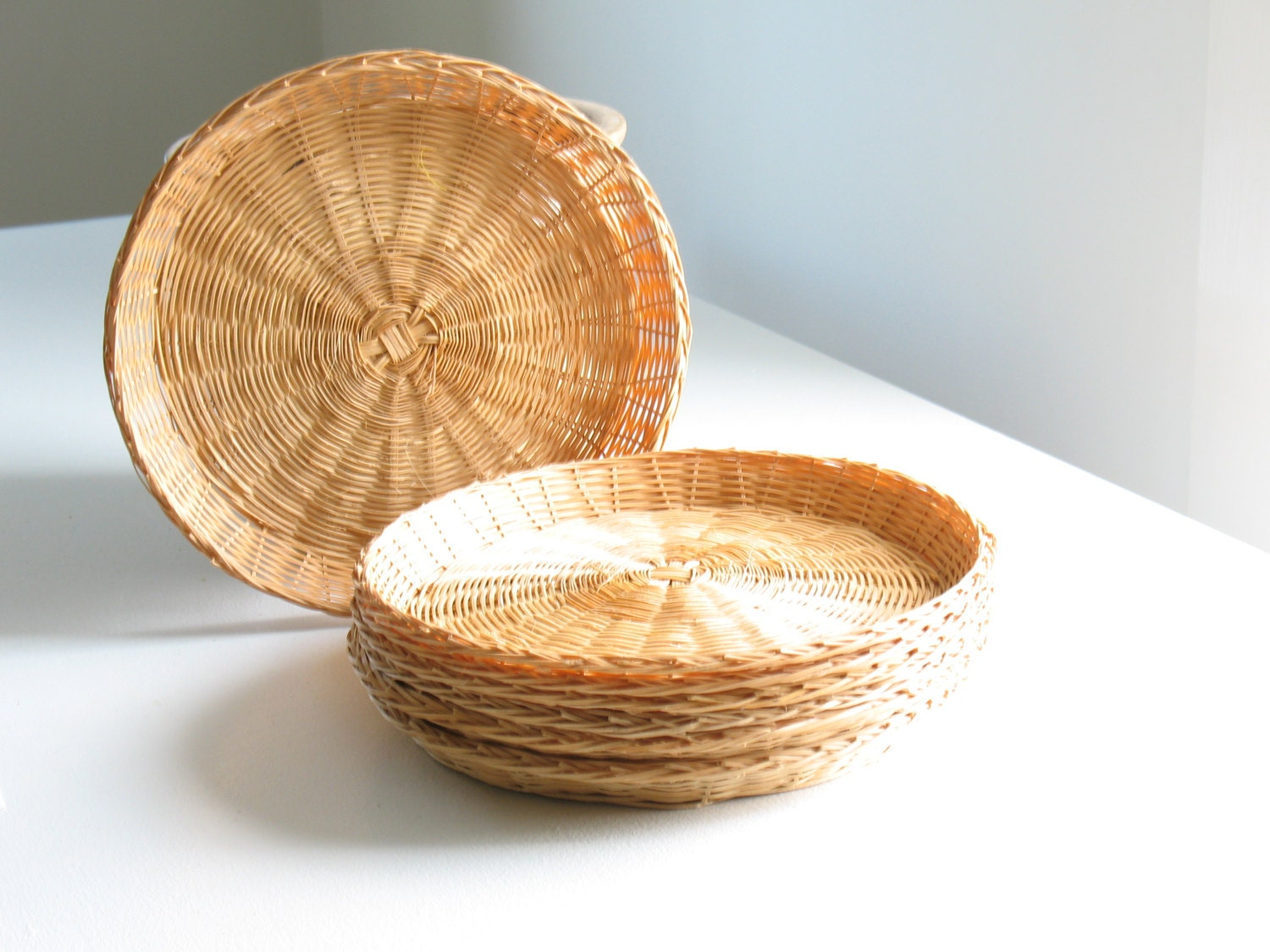 vintage wicker paper plate holders set of six woven rattan. Black Bedroom Furniture Sets. Home Design Ideas
