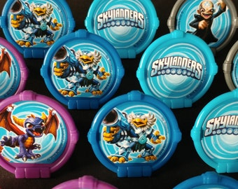 24 SKYLANDERS PORTAL POWER rings for cupcake toppers cake birthday party favors goodie bags decorations decor Kaos Roller Brawl Spitfire