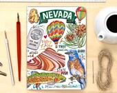Nevada notebook, Blank journal, illustration, State symbols, Personalized Stationery.