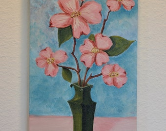 Pink Dogwood flowers in Green Vase 10x20 original acrylic on canvas