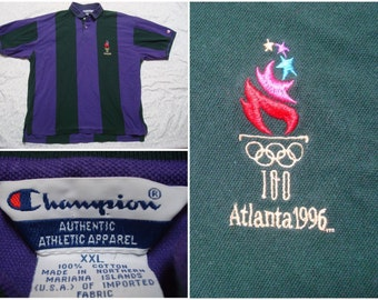 Vintage Retro Men's 90's Champion Polo Shirt Atlanta Olympics 1996 Green Purple Stripe Short Sleeve Streetwear XXL