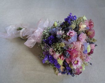 Summer rustic wedding country bridal bouquet pink purple natural wedding bouquet garden dried flowers farm bouquet outdoor woodland wedding