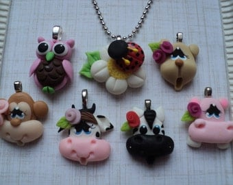 The ANIMALS inspired Birthday Party Favors Set Of 7 Necklaces