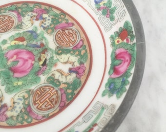Famille Rose Bowl, Pewter Clad Bowl, Japanese Porcelain, Decorated Hong Kong, Vintage Famille Rose, Chinoiserie, Asian Bowl