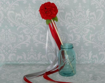 Red Rose Flower Girl Ribbon Wand - Small