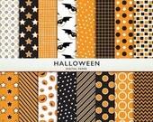 75% OFF SALE Halloween Digital Paper -  Orange and Black Scrapbooking Commercial Instant Download G7314