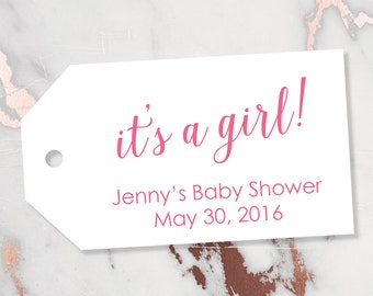 It's a Girl Tag - Baby Shower Tag - It's a Girl Tags - Pink Tags - Baby Tags - Gender Reveal Tags - Baby - Baby Shower Favors - MEDIUM