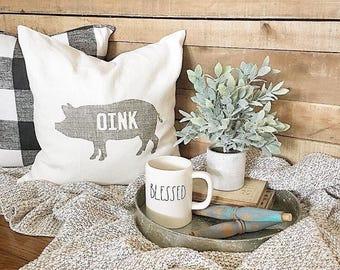 "pig pillow, oink pillow, farmhouse pillow, farmhouse decor, animal pillow, ""The Pig"""