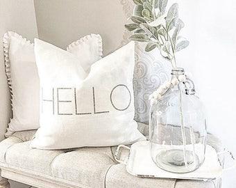"hello pillow, word pillow, housewarming, custom pillow, throw pillow, new home gift - ""hello"""