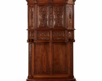 Antique French Gothic Revival Intricately Carved Walnut Cupboard, circa 1880