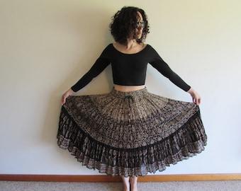 Vintage Indian Gauze India Cotton Ethnic Floral Print Boho Hippie Festival Skirt