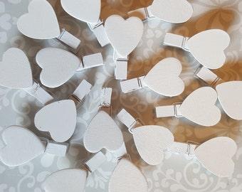 Mini Heart White Wooden Pegs (Packs of 20)