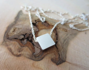 Square necklace, simple necklace, sterling silver square necklace, geometric necklace, square charm necklace