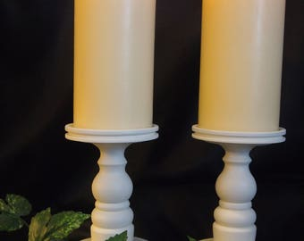 "Ivory, Lathe-turned Pillar Wood Candle Holders - Set of Two 7"" for 4"" Candles - Made in USA"