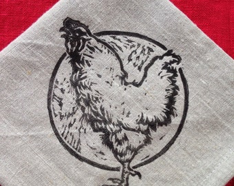 Rise and shine! A crowing rooster, my original linoleum print, hand printed on hand sewn linen napkins. Set of four! Vermont made.