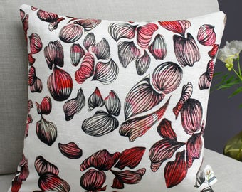 Inky Petal Botanical Floral Print Cushion Featuring Sketchy Colourful Flowers in Pink