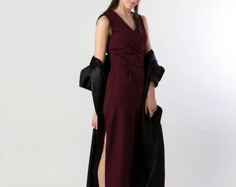 REN Jumpsuit - side slit romper pantsuit burgundy red