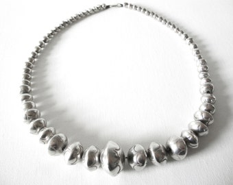 Navajo Sterling Silver Graduated Bead Necklace
