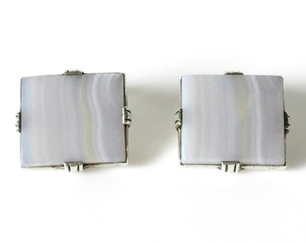 Large White Banded Agate Square Cufflinks Set In Sterling Silver