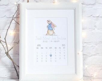 Peter Rabbit Personalised  Birth Detail Print