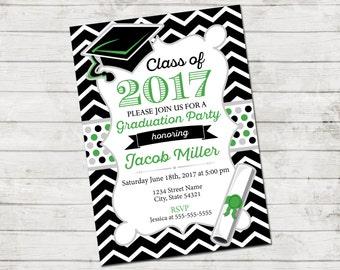 Graduation Party Invitation - Class of 2017 - Chevron Stripes and Polka Dots - Black White Green - Printable
