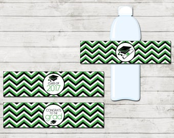 Water Bottle Labels - Graduation - Class of 2017 - Graduation Party - Green Black and White - INSTANT DOWNLOAD - Printable