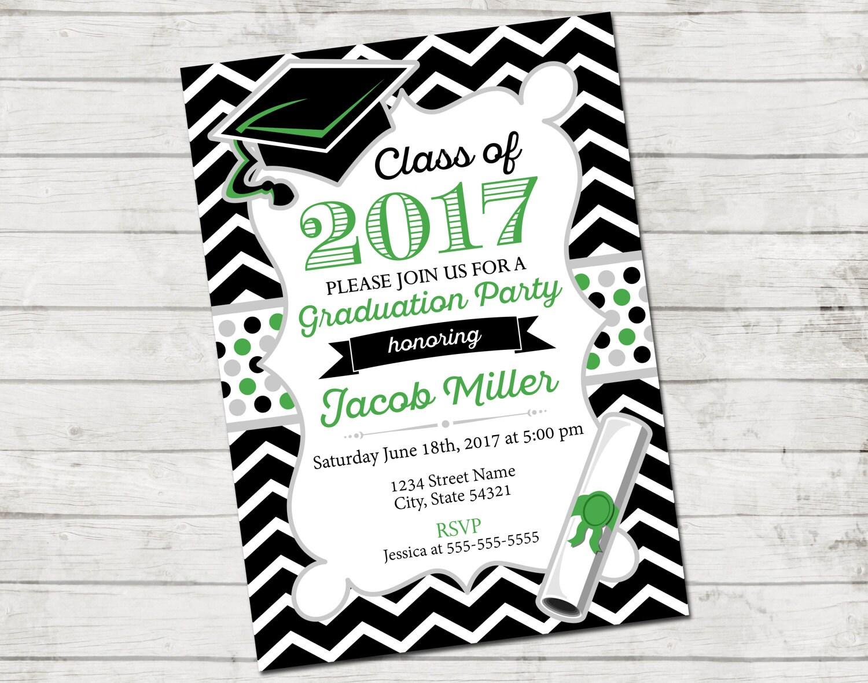 Graduation Party Invitation Class of 2017 Chevron Stripes