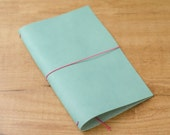 Handmade Leather Traveler's Notebook, Midori style in Regular/Wide size - Worn Turquoise