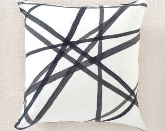 Kelly Wearstler Channels Pillows Linen Shams (Both sides) Ebony/Ivory Perwinkle/Oat