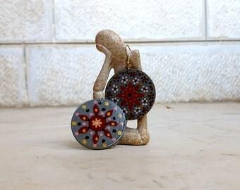 Wooden earrings, double sided earrings, hand painted wood earrings, round earrings, light weight earrings, painted patterns, grey