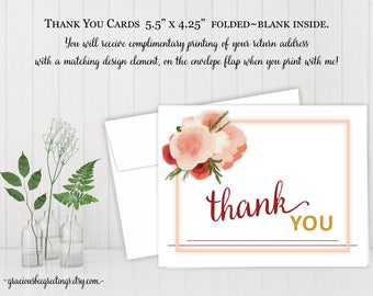 Thank You Cards, Thank You Notes, Thank You Stationery, Birthday, Bridal, Baby Shower, Digital, Printable BW11002