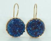 FLASH SALE- Blue Druzy Earrings, Druzy Drop Earrings, Gold Earrings, Druzy Agate Bezel Sets, Blue Dangle Gemstones Earrings,  Crown Lace Set