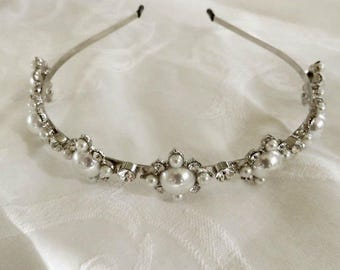 Pearl Rhinestone Headband, Wedding Hair Band, Bridal Piece, Formal Hair Jewelry