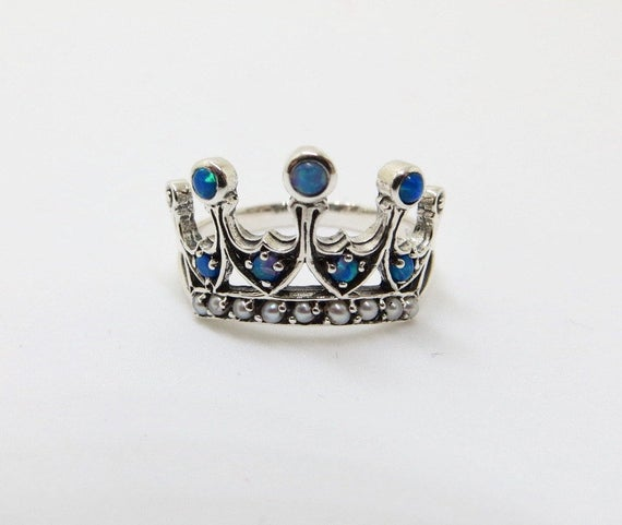 Sterling Filigree Crown Ring, Blue Fire Opal Seed Pearl Stones, Size 6 Ring, Vintage Crown Ring