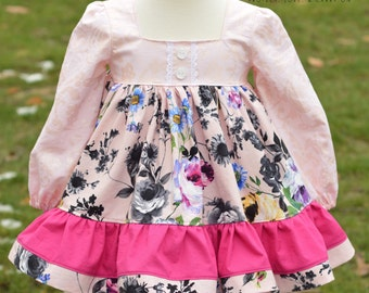 Twirl Dress Painted Rose size 3T One Of A Kind with crochet lace accents