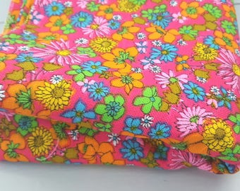RESERVED for Maryanne Vintage Fabric Bright Pink Orange Floral 1960's Linen Look blend