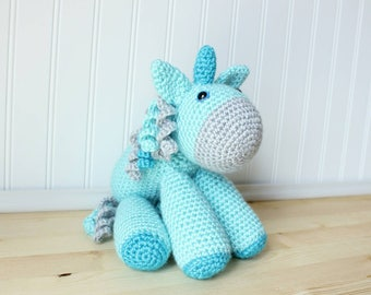 Crochet Unicorn Plush - Large Blue Unicorn Stuffed Animal - Toddler Gift - Baby Shower Gift - Baby Room Decor - Toddler Toy - Baby Girl Gift