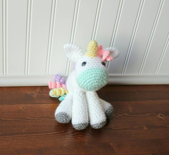 Crochet Unicorn Plush - Small Unicorn Toy - Toddler Toy - Stuffed ...