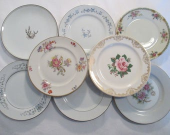 Dessert / Bread Plates Mismatched China for Tea Party, Wedding, Garden Party, Bridal Luncheons, Cake Plates, Tea Plates - Set of 8