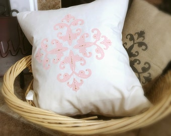 Pink, Gold, and White Damask Throw Pillow: home decor, pillow covers, pillow cover, throw pillows, decorative pillow, delightful daze