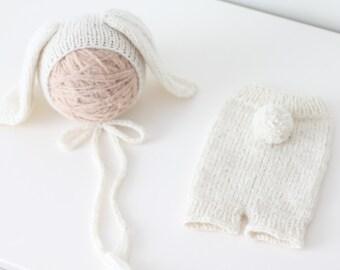 Newborn rabbit – Baby props – Newborn set – Photo props – Baby boy rabbit – Newborn hat – Newborn props – Baby boy props - Easter hat -Cream
